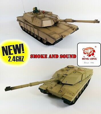 UK 2.4G Heng Long Radio Control RC Tank Challenger 2 AND Abrams M1A2 DOUBLE PACK • 289.99£