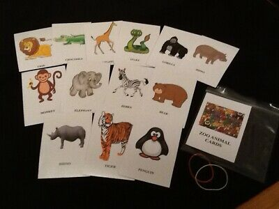Zoo Animal Flashcards / Educational Cards / Early Learning (rounded Corners) • 3.99£