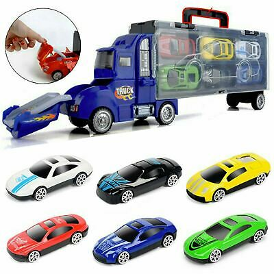 Toy Truck Carrier & 6 Mini Cars Play Set Transport Car Toys Lorry Truck Kids Toy • 8.45£