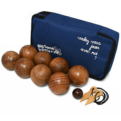 8 Polished Wooden Bowls Boules Set In Canvas Carry Bag Petanque Beach Game • 48.99£