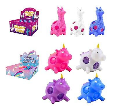 Kids Squish,Squeezy Ball Crystal Beaded Unicorn,Llama Stocking Filler Toy 3+Y • 3.99£