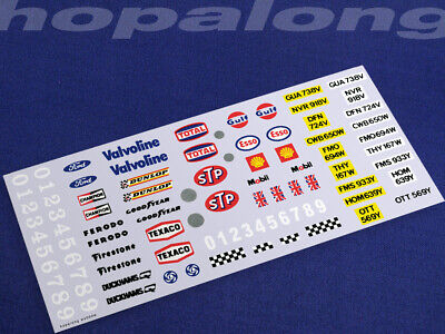 Scalextric/Slot Car 1/32 Scale Waterslide Decals (with White Print). Ws002w • 3.55£