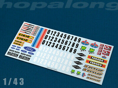 Scalextric/Slot Car 1/43 Waterslide Decals (with White Print). Ft006w • 2.95£