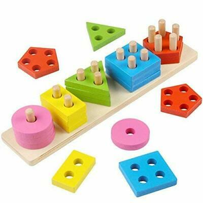 Stacking Shapes Wooden Toys Sorting Toddlers Baby Bright Geometric Blocks Board  • 12.30£