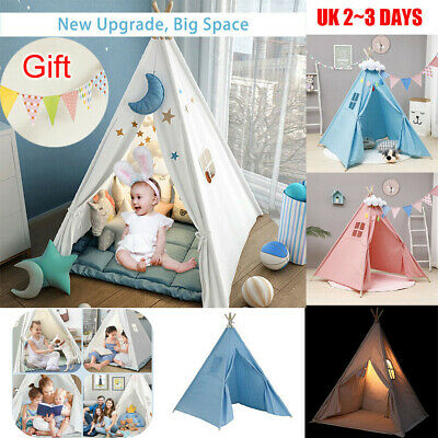 Large Canvas Children Indian Tent Teepee Kids Wigwam Indoor Outdoor Play House • 24.96£
