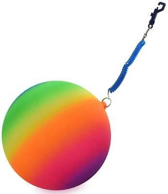 10  Neon Rainbow Rubber Ball With Keychain Kids Garden Playground Play Toy • 2.89£