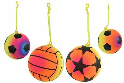 1x Inflatable Neon Sport Ball With Keychain Football Kids Beach Garden Party Toy • 2.79£