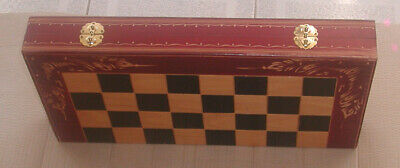Backgammon Set Hand Made With Chess Checkers Board - Used Like New Free Ship  • 107.61£