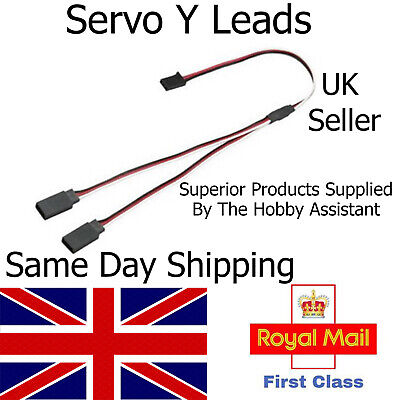 Servo Y Lead Extension Male Female Connector Wire Cable Futaba JR Splitter RC UK • 5.75£