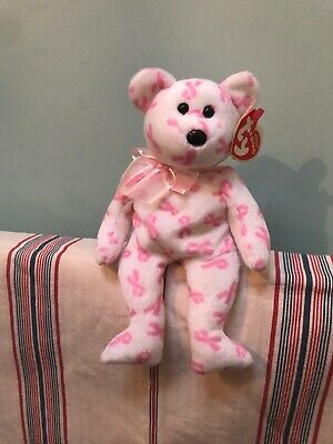 Ty Beanie Baby Giving The Bear (Breast Cancer Awareness Bear) Brand New With Tag • 28.50£
