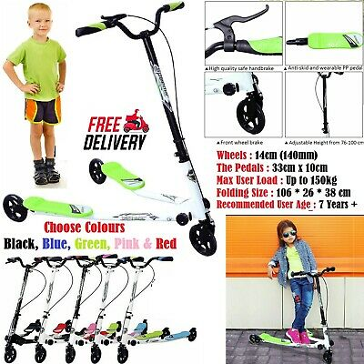 Kids 3 Wheels Speeder Kick Push Scooter Tri Slider Winged Children Adjustable UK • 38.59£