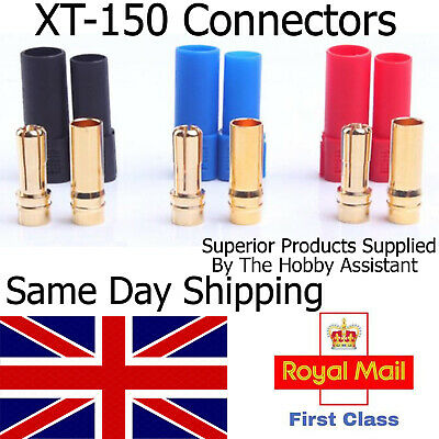 AMASS XT150 6mm Bullet Banana Cable Connectors (3X Male Female PAIRS) RC UK Lipo • 6.85£