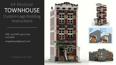 LEGO CUSTOM INSTRUCTIONS MOC MODULAR TOWN HOUSE MODEL A4 PDF MANUAL Train City • 7.99£