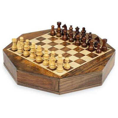 Personalised Wooden Octagon Chess Game Board Set, Magnetic, Travel, Engraved • 38.99£