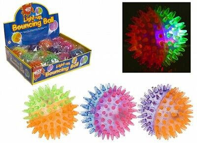 Wizz Toys 7.5cm / 3'' Light Up Two Colour Spikey Bouncing Ball - Box 12 • 11.99£
