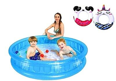 Large Family Size Inflatable Swimming Pool Summer Outdoor Kids Paddling Pools • 29.99£