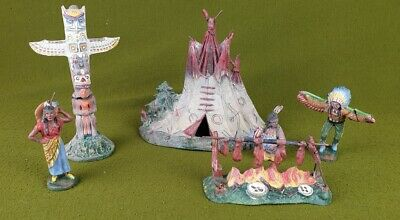 5208 Early 20th Century Elastolin Red Indian Figures With Tepee/Totem Pole Etc. • 65£