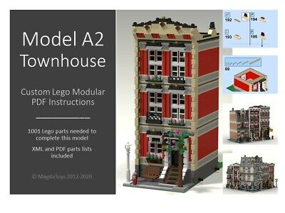 Lego Custom Instructions Moc - Modular Townhouse - Model A2 - Pdf Manual • 8.99£