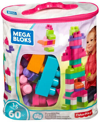 Mega Bloks 60 Pcs Big Building Bag Pink • 12.99£