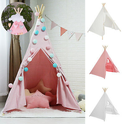 Large Kids Teepee Tent Wooden Playhouse Black Pink Grey White Gift For Boy Girl • 28.09£