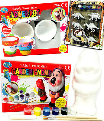 Paint Your Own Garden Gnome Flower Pot Dinosaurs Craft Kids Painting Home School • 7.95£