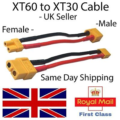 XT60 To XT30 Adapter Converter Cable Female Male Connector Wire  UK RC Adaptor • 4.35£