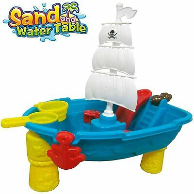 Sand And Water Play Table, Pirate Ship With Water Slide And Water Spin Wheel • 18.99£