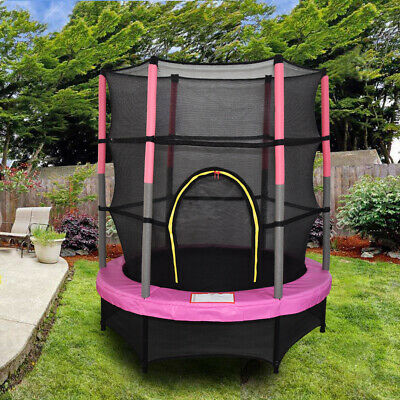 4.5FT Mini Trampoline Set With Enclosure Safety Net Outdoor 55  Kids Toy Pink • 99.97£