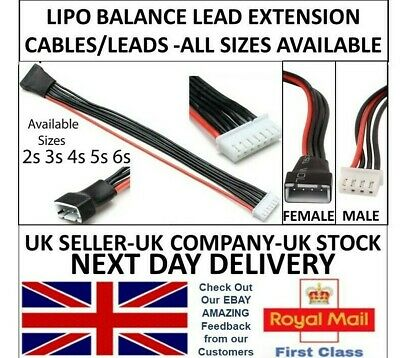 Lipo Balance Extension Lead Cable JST-XH 20cm 2s 3s 4s 5s 6s LIPO Li-po RC UK  • 1.99£