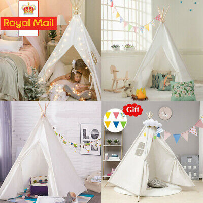 Portable Playhouse Sleeping Dome Indian Teepee Tent Children Play House White UK • 25.94£
