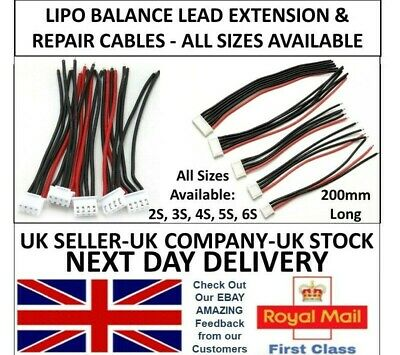 Lipo Balance Repair Replacement Lead Cable 20cm JST-XH MALE 2S 3S 4S 5S 6S UK RC • 1.99£