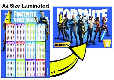 Times Tables A4 FORTNITE Poster Children Kids Education Multiplication Maths • 2.99£