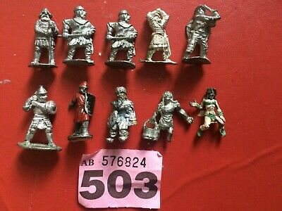 Job Lot Of 10 Metal Pre Slotta Armoured Fighters Men At Arms Ideal For RPGs • 5£