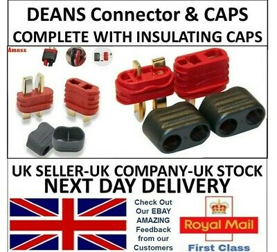 AMASS Deans Connectors Male Female Pairs With Insulating CAPS RC UK T Plug Type • 5.99£