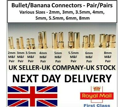 RC Vehicle Banana Bullet Plugs Connectors 2mm 3mm 4mm 5mm 6mm Model LiPo Battery • 5.75£