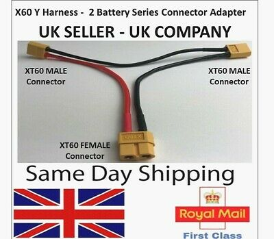XT60 Y Series Cable Lead Harness Connector Adapter 2 Battery Adaptor Lipo ESC RC • 4.95£