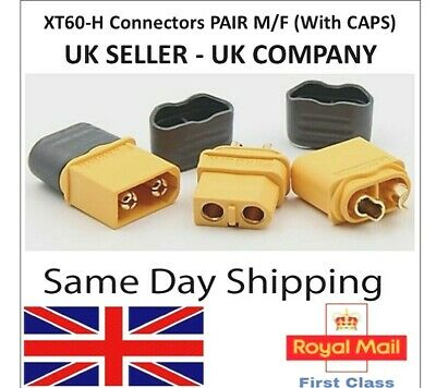 AMASS XT60 XT60H Male Female Connectors Pairs With Caps Charger Plugs RC Xt60 UK • 4.55£