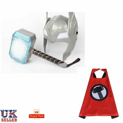 UK LED Glowing And Sounds Thor Hammer LED Mask Action Figures Kids Cosplay Toys • 15.99£