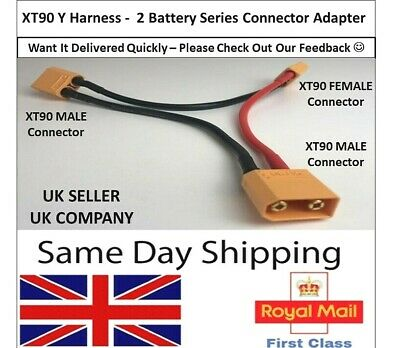 XT90 Y Series Cable Lead Harness Connector Adapter 2 Battery Adaptor Lipo ESC RC • 5.35£