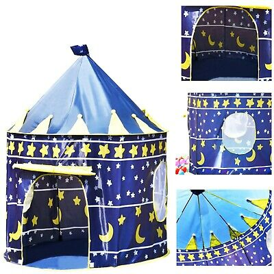 Childrens Kids Pop Up Castle Playhouse Blue Wizard Play Tent • 13.99£