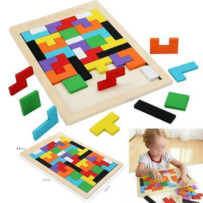 Kids Toys Wooden Tetris Building Block Puzzle Montessori Preschool Learning Gift • 4.74£