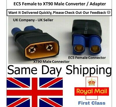 XT90 Male To EC5 Female Adapter Converter Connector Lipo Battery Adaptor RC UK • 4.55£