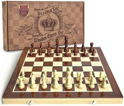 Wooden Chess, Handcrafted Wood Pieces, 15-inch Board With Magnet Closure • 15£