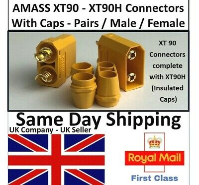 AMASS XT90 XT90H Connector Pairs Male Female RC Battery Lipo Xt90 Xt-90 UK Plugs • 10.75£