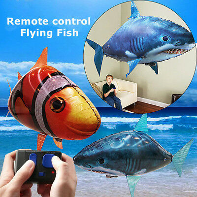 Remote Control Flying Air Shark Toy RC Radio Inflatable Balloons Clown Gift Fish • 12.29£