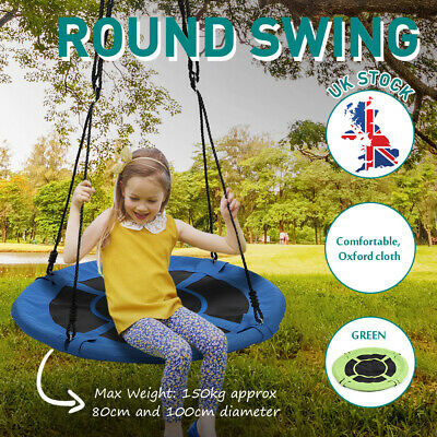 80/100cm Heavy Duty Tree Swing Large Round Seat Kids Outdoor Yard Toy • 44.99£