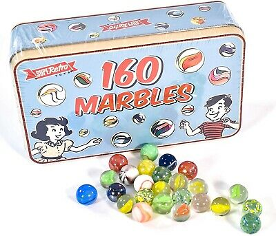 160 Assorted Colorful Classic Retro Glass Marbles In A Tin Children Kids Game • 8.99£