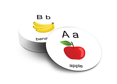 Educational Flash ROUND Cards - ABC Full Colour - Immediate Free Postage - 8cm • 3.49£