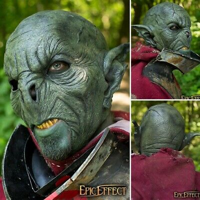 Latex Green Feral Orc Mask - Perfect For LARP Or Costume Use • 62£