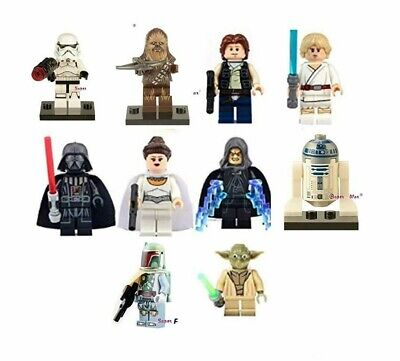 10 X Mini Figures Star Wars Jedi Fit Lego Uk Seller Building Blocks Toy Mini Fig • 18.99£